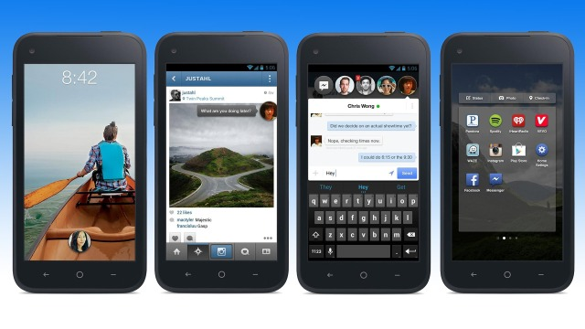 Facebook Home screens (from left to right): lockscreen, Chathead (closed), Chathead (open), and app drawer.