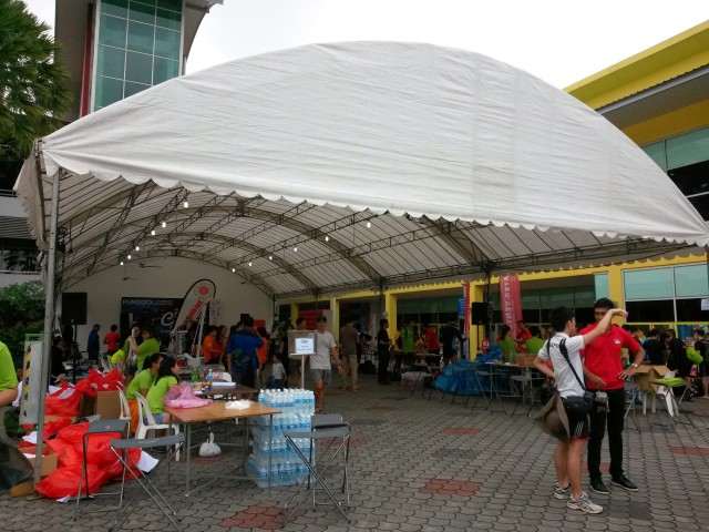 Giant tent with vendor and administration booths